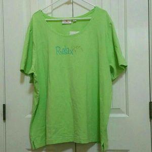 Quaker Factory Lime Green T-shirt size 3X